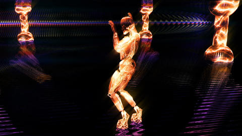 Beautiful cyber girl dances and moves in a fire neon nightclub. Loopable Animación