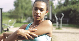 Beautiful woman stretching hands Footage