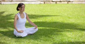 Young woman meditating in nature Archivo