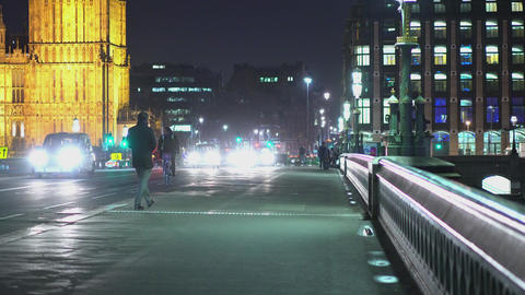 Westminster Bridge London at night LONDON,ENGLAND FEBRUARY 20, 2016 Live Action
