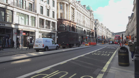 Street traffic on Regent Street London - LONDON,ENGLAND FEBRUARY 20, 2016 Footage