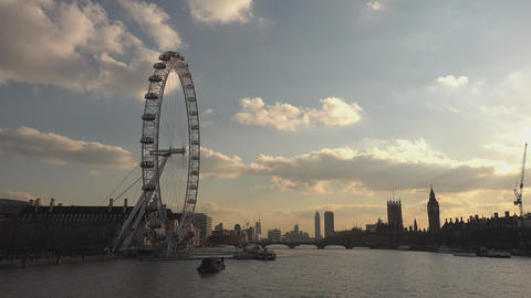 View from Golden Jubilee Bridge to River Thames and London Eye - LONDON,ENGLAND  Footage