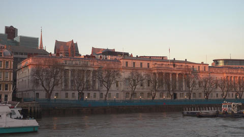 Somerset House London at sunset - LONDON,ENGLAND FEBRUARY 20, 2016 Live Action