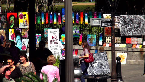 Famous Decatur Street in New Orleans art street shops – NEW ORLEANS, LOUISIANA Footage