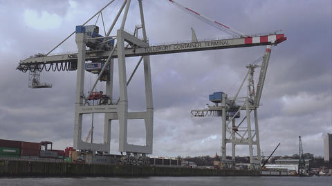 Tollerort container terminal - HAMBURG, GERMANY DECEMBER 23, 2015 Live Action