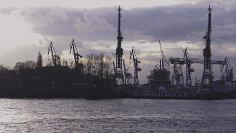Silhouette of Port of Hamburg - HAMBURG, GERMANY DECEMBER 23, 2015 Footage
