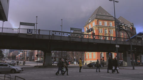 Hamburg street view with tramway - HAMBURG, GERMANY DECEMBER 23, 2015 Footage