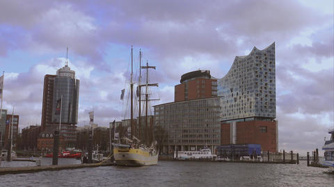 Hafen City Hamburg with Elbphilharmonie building - HAMBURG, GERMANY DECEMBER 23, Footage