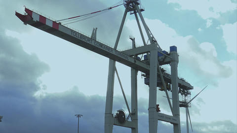 Huge container crane Tollerort container terminal - HAMBURG, GERMANY DECEMBER 23 Footage