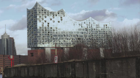 Modern building Elbphilharmonie at Hamburg harbor - HAMBURG, GERMANY DECEMBER 23 Footage