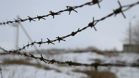 Barbed wire fence Footage