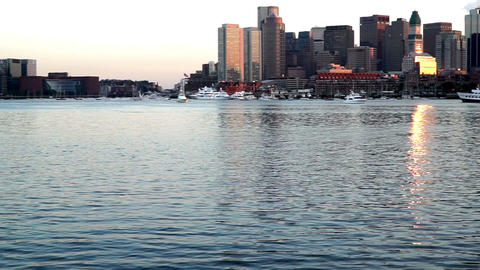 At Sunset,the Panoramic View Of China Town On The Far Shore, Boston stock footage