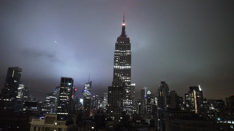 Manhattan aerial view with Empire State building by night - MANHATTAN, NEW YORK/ Live Action