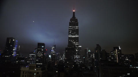 Impressive View On Empire State Building In The Dark Amazing Night View - MANHAT stock footage