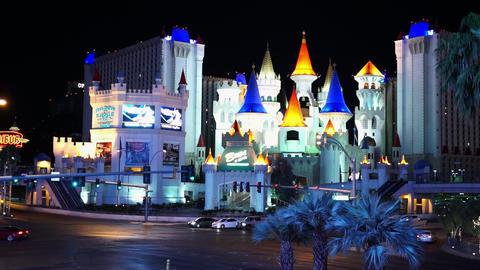 Excalibur Hotel and Casino Las Vegas by night - LAS VEGAS, NEVADA/USA Live Action