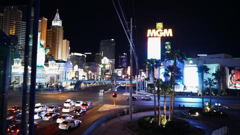 Las Vegas strip with MGM Hotel by night - LAS VEGAS, NEVADA/USA Live Action