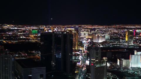 Las Vegas aerial shot of the strip by night - LAS VEGAS, NEVADA/USA Live Action