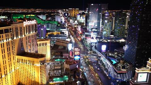 Amazing night view on Las Vegas strip - LAS VEGAS, NEVADA/USA Live Action