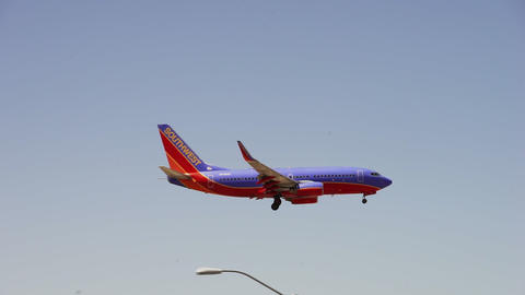 Airplane of Southwest Airlines landing at airport - LAS VEGAS, NEVADA/USA Live Action