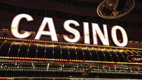 Illuminated advertising of Las Vegas Casinos - LAS VEGAS, NEVADA/USA Live Action