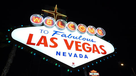 Illuminated Welcome to Fabulous Las Vegas by night - LAS VEGAS, NEVADA/USA Footage