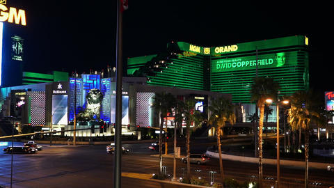Street corner of the Las Vegas strip at MGM Grand - LAS VEGAS, NEVADA/USA Live Action