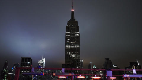 The Empire State building in the dark amazing night view - MANHATTAN, NEW YORK/U Footage