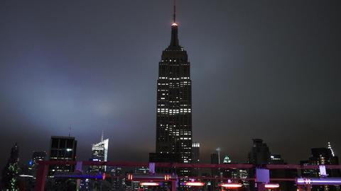The Empire State building in the dark amazing night view - MANHATTAN, NEW YORK/U Footage