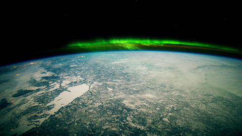 View on Earth, Atmosphere and Aurora from space 4K Animation