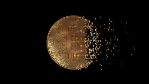 A matrix bitcoin coin with an alpha channel Animation