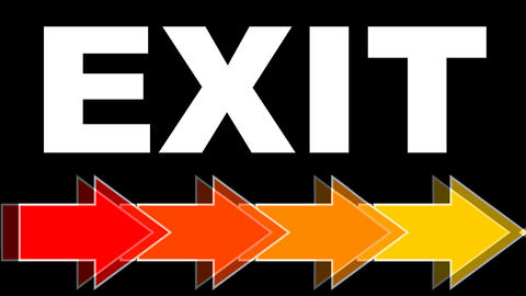 Exit - white title with arrows in fiery colors, red, orange, yellow. Arrows Animation
