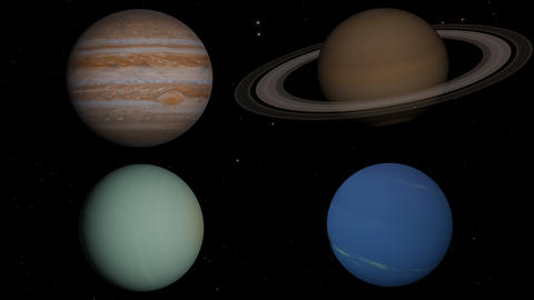 The 4 gas giants planets in the solar system ビデオ
