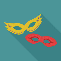 Carnival masks flat long shadow design icon Vector