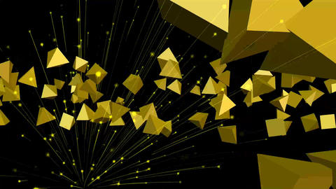Welcome - title composed from flying golden particles, firework on black CG動画素材