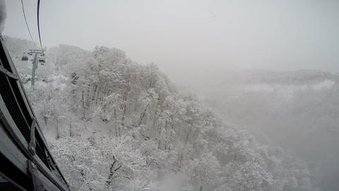 "Caucasian mountains. Snowfall. Ski resort ""Rosa Khutor"". Sochi. Russia Live Action"