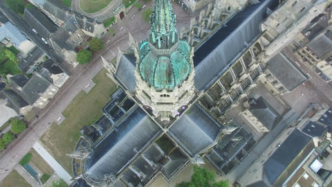 Bayeux Cathedral Spire Aerial, Normandy, France Bild