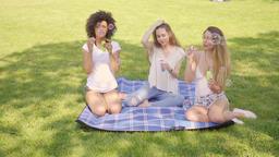 Friends blowing bubbles in park Footage