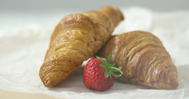 Strawberry and croissants Footage