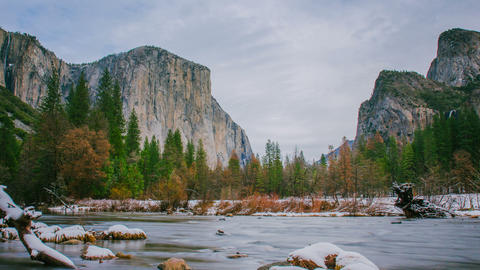 Time Lapse - Grey Clouds Moving Over Yosemite National Park Valley, California Footage