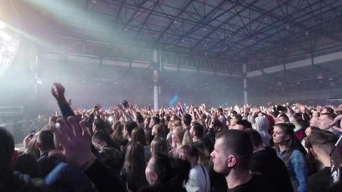 Crowd Of People Dancing At The Concert Footage