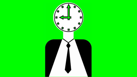 Time management thema. Animation with manager figure, clock face pulsing in Animation
