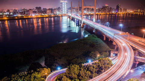Time Lapse - Traffic View of a Bridge at Night, Taipei, Taiwan Live Action