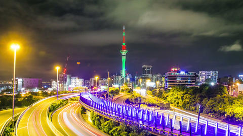 Time Lapse - Traffic View at Night in Auckland, New Zealand Footage