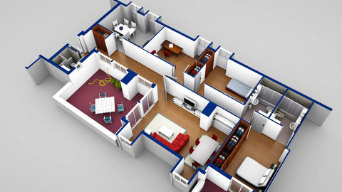House blueprint 3d loop Image