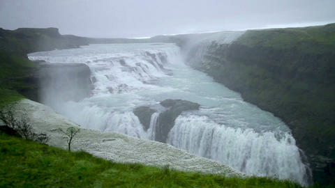 Footage - Amazing Waterfall of Iceland Gullfoss Footage