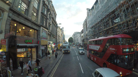 LONDON JULY 2017: View from double decker bus window in London with busy streets Footage