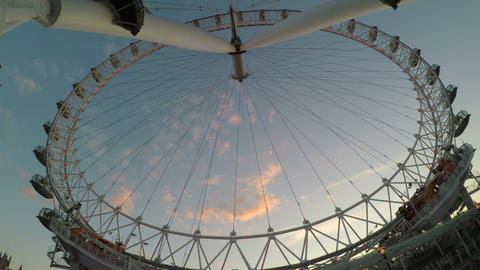 LONDON JULY 2017: Upside view of London Eye Millennium Wheel with sky in Footage