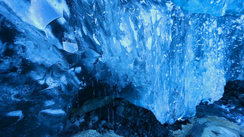 Footage - Melting Water of Ice Cave in Iceland Footage