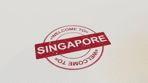 WELCOME TO SINGAPORE wooden stamp animation. Alpha matte for easy background Footage