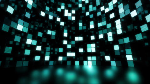 Neon Tiles Light Stage Revolving - Sea Color - Dots Fast Stock Video Footage